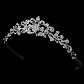 Antique Silver Clear Swarovski Crystal Tiara HP 7088 S