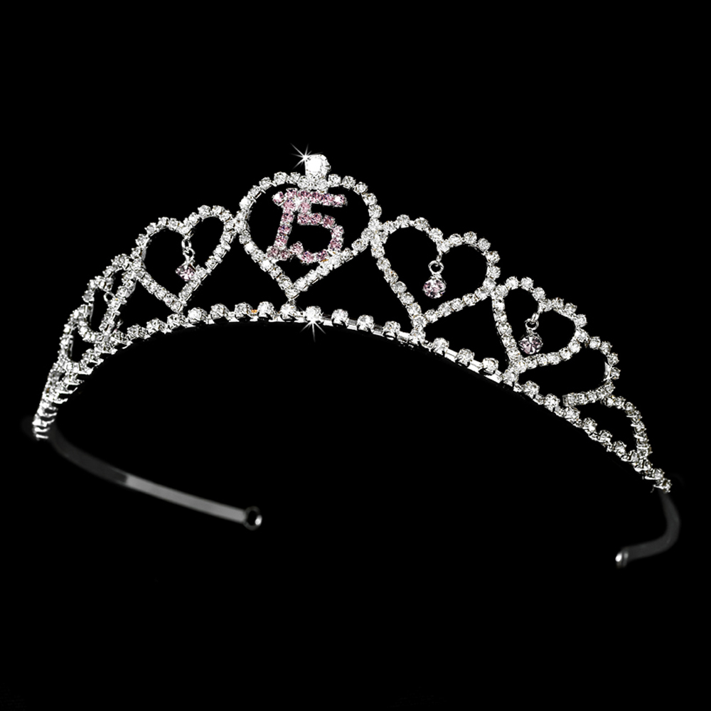 Sparkling Sweet 15 Quinceaera Tiara Covered In Clear
