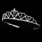Sweet 15 Quincea�era Tiara Covered in Clear & Pink Rhinestones 460