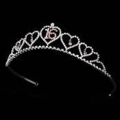 Sweet 16 Silver Plated Tiara Covered in Clear & Pink Rhinestones 460