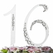 """Sweet 16th Birthday or Anniversary  Crystal Accented Cake Top """"Sparkle"""""""