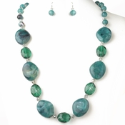 Teal Green Stone And Faceted Beaded Fashion Jewelry Set 9506 **Discontinued**