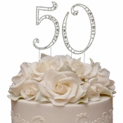 Vintage ~ 50th Anniversary, 50th Birthday Swarovski Crystal Cake Topper Gold or Silver