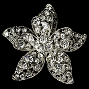 Vintage Antique Silver Floral Starfish Rhinestone Bridal Brooch 40