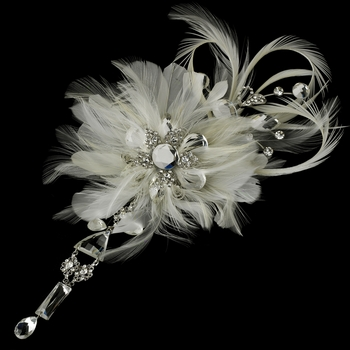 * Vintage Bridal Feather Hair Fascinator with Dangling Crystals Clip 8105 with Brooch Pin