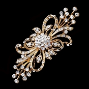 * Vintage Bronze Plated Clear Crystal Bridal Brooch 3268