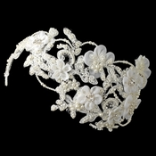 ✧SPECIAL ORDER ONLY✧ Vintage Diamond White Floral Sheer Organza Headpiece