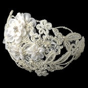 ✧SPECIAL ORDER ONLY✧ Vintage Diamond White Floral Sheer Organza Headpiece (Minimum 24 pieces x $34 each)