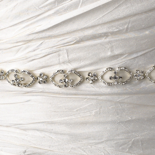 * Vintage Satin Ribbon Belt or Headband 6469 with Clear Crystals
