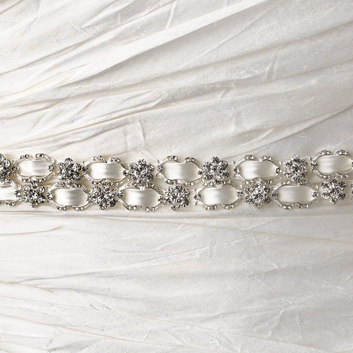 Vintage Satin Ribbon Belt or Headband 6470 with Clear Crystals