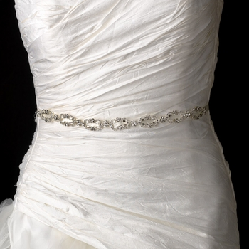 Vintage Satin Ribbon Belt or Headband 8206 with Clear Crystals
