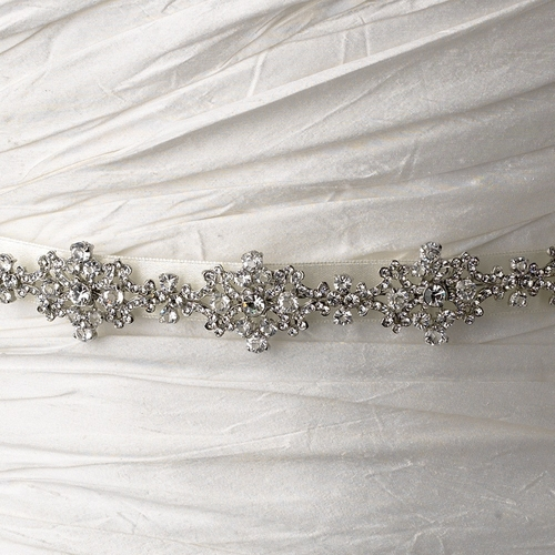Vintage Satin Ribbon Belt or Headband 8286 with Clear Crystals