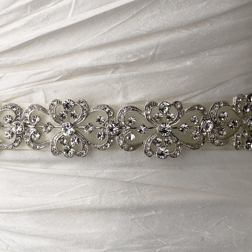Vintage Satin Ribbon Belt or Headband 8287 with Clear Crystals
