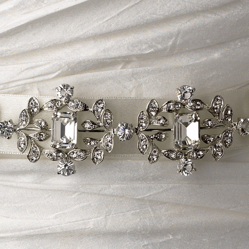 Vintage Satin Ribbon Belt or Headband 8288 with Emerald Shaped Crystals & Rhinestones