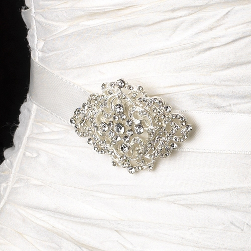 * Vintage Satin Ribbon Belt or Headband 8428 with Centered Rhinestone Accent