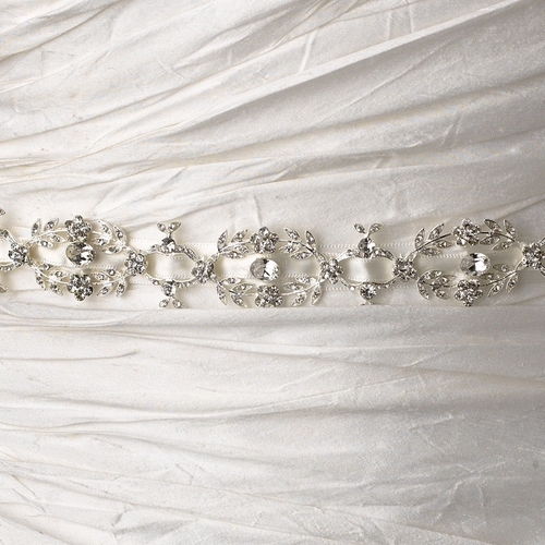 * Vintage Satin Ribbon Belt or Headband 8440 with Clear Floral Leaf Crystals & Rhinestones