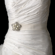 Wedding Belt Bridal Sash with Antique Silver Crystal Floral Pearl Brooch 117