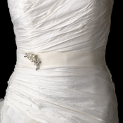 Wedding Sash Bridal Belt with Antique Crystal & Pearl Brooch 119