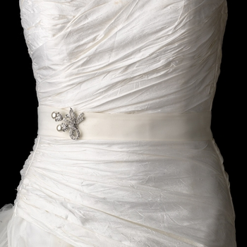 Wedding Sash Bridal Belt with Antique White Pearl Accented Brooch 133