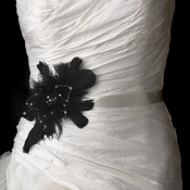 Wedding Sash Bridal Belt with Black Feather Fascinator Clip 1531