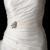 Wedding Sash Bridal Belt with Silver Clear Crystal & Pearl Brooch 126