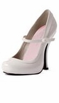 "4"" White Patent Mary Jane Shoes with 1"" Concealed Platform"