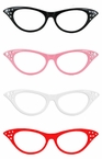 50s Style Rhinestone Cat's Eye Glasses