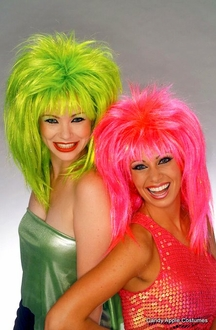 80's Pop Sensation Wig - Pink or Lime