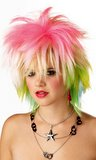 80's Punky Pop Rock Rainbow Wig
