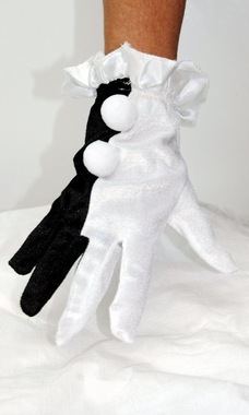 Adult Black/White Clown Gloves