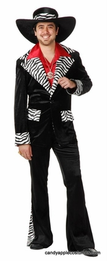 Adult Black/White Mac Daddy Pimp Costume