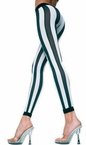 Adult Black/White Vertical Striped Leggings