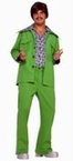 Adult Green 70's Leisure Suit Costume With Attached Shirt