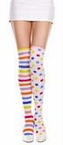 Adult Rainbow Striped and Polka Dot Thigh High Socks