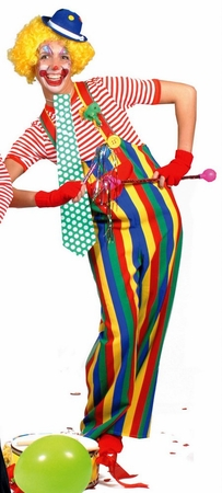 Adult Rainbow Striped Clown Overalls Costume