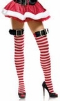Adult Santa Buckle Striped Thigh Highs