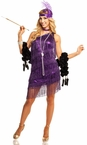 Adult Sexy Purple Dazzling Flapper Costume