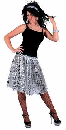 Adult Silver Stardust Sequin Disco Skirt
