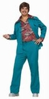 Adult Teal 70's Leisure Suit Costume With Attached Shirt