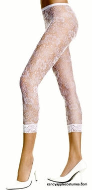 Adult White Floral Lace Footless Tights