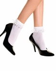 Adult White Ruffle Ankle Socks