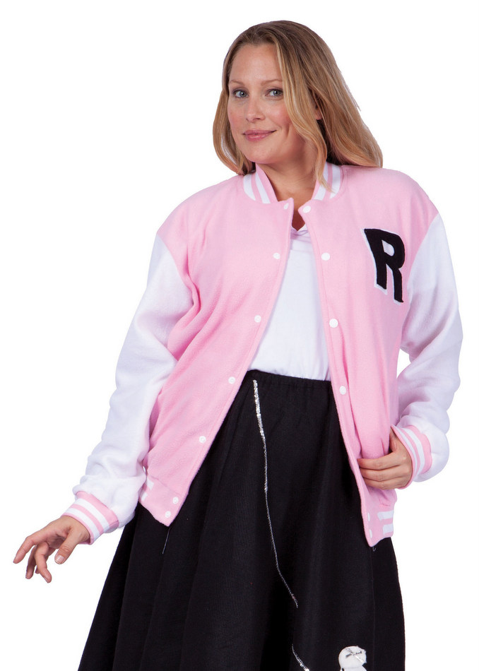 To join them you'll need this Grease Plus Size Pink Ladies Jacket. Then you'll fit right in. This plus size women's Grease jacket is officially licensed and ready for you to wear for Halloween or a theme party. The satin jacket has an interlock waistband and sleeve cuffs for an authentic look straight out of the 's. The back of the.