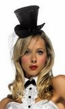 Black Glitter Mini Top Hat with Veil