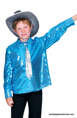 Child's Cosmic Blue Sequin Disco Shirt