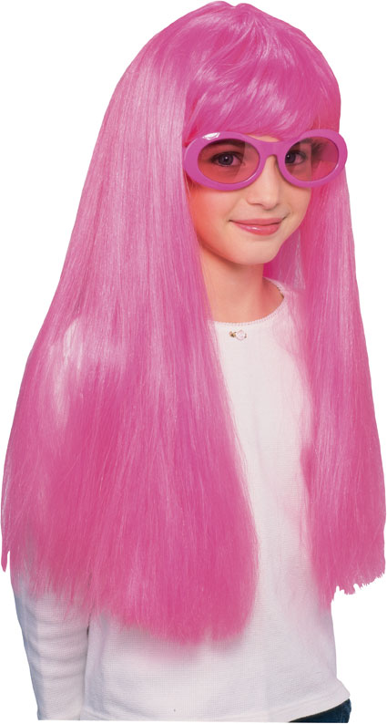Child'S Long Pink Wig 26