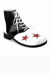 Deluxe Adult Black/White Clown Shoes With Red Stars