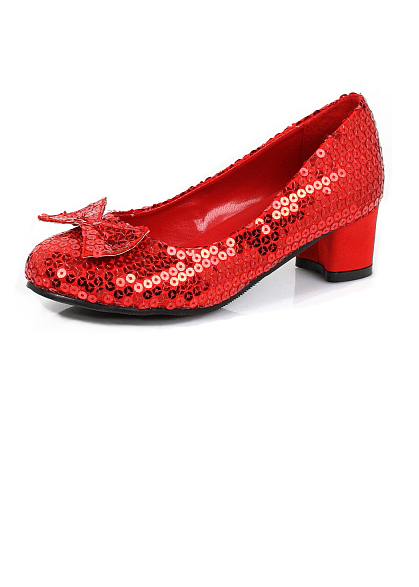 Girl's Red Sequined Shoes With 1-Inch Heels - Dorothy Costumes ...