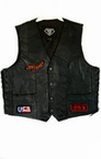 Leather Biker Vest with Patches - Adult and Plus Sizes