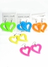 Neon Heart Cut-out Plastic Earrings
