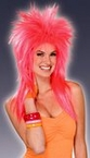Pink Pizazz 80's Neon Spiked Mullet Wig